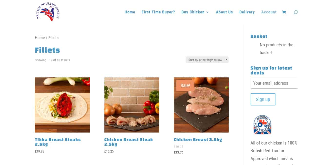 Chicken food ecommerce website