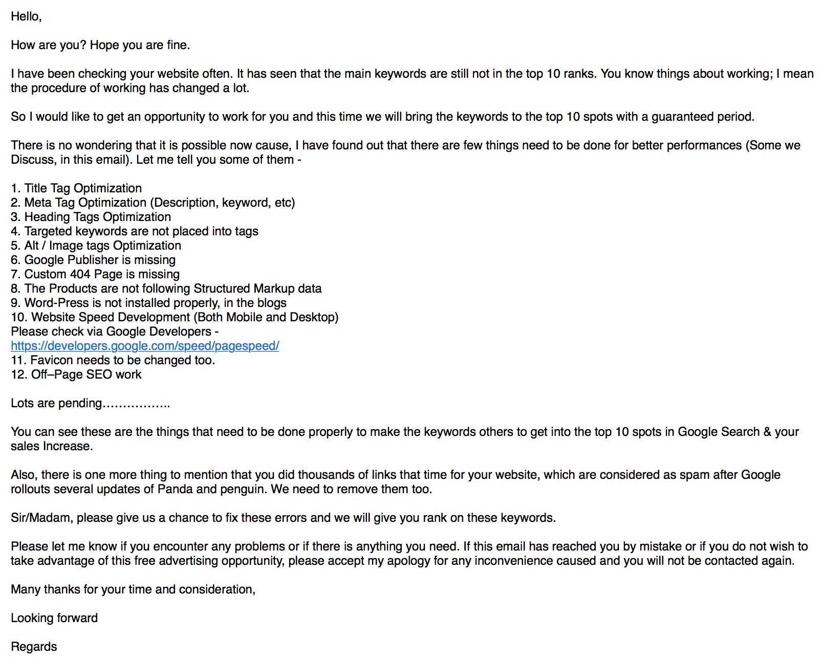 SEO email from a spammer